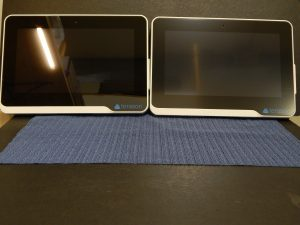This is a medical device. On the left -- a screen showing overhead light glare. On the right -- the same screen with Photodon's MXH film. See how the reflection is muted? MXH is our lowest percentage anti-glare film, so if you need more protection, MXT or MXG are additional options.