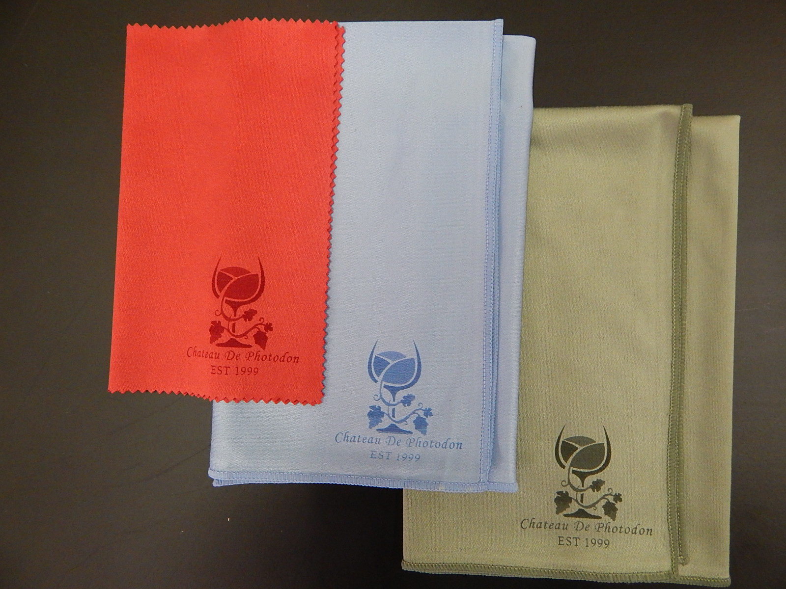 "Silky Microfiber Cloths (14"" x 14"") in three colors"