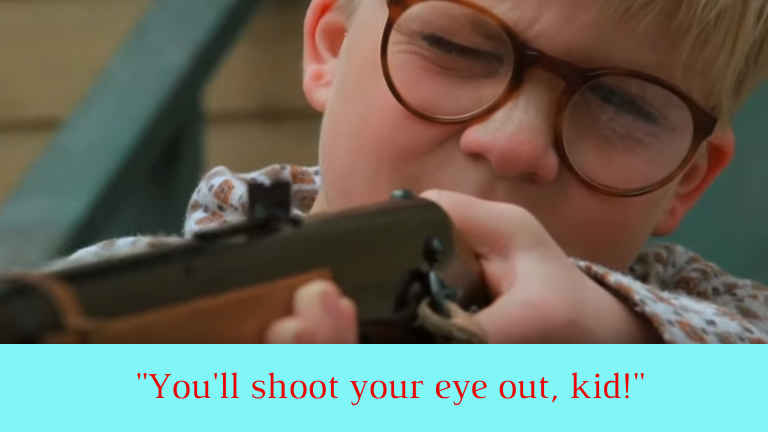 Picture of Ralphie aiming a bb gun