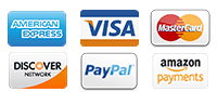 We accept American Express, Visa, Mastercard, Discover, Paypal, and Amazon Payments