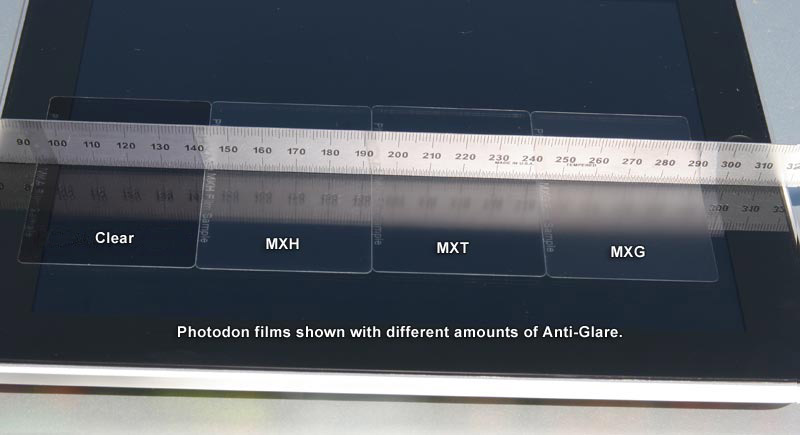 Photodon Films shown with different amounts of Anti-Glare