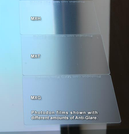 Screen Protectors shown with different amounts of Anti-Glare